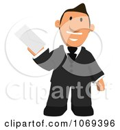 Clipart Business Toon Guy Holding A Letter 1 Royalty Free CGI Illustration