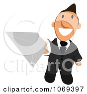 Clipart Business Toon Guy Holding A Letter 2 Royalty Free CGI Illustration