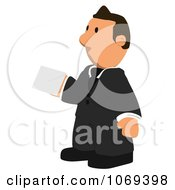 Clipart Business Toon Guy Holding A Letter 3 Royalty Free CGI Illustration