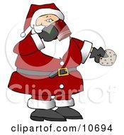 Santa Drinking Milk And Eating Cookies On Christmas Eve