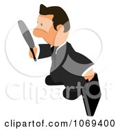 Clipart Business Toon Guy Searching 2 Royalty Free CGI Illustration