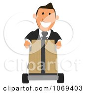 Clipart Business Toon Guy Pushing Boxes On A Dolly 1 Royalty Free CGI Illustration