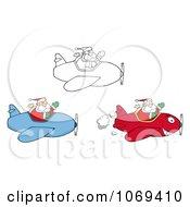 Clipart Santa Pilots Royalty Free Vector Illustration