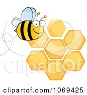 Clipart Happy Bee Over Honey Combs Royalty Free Vector Illustration by Hit Toon