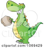 Clipart Green T Rex Holding A Boulder Royalty Free Vector Illustration