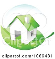 Clipart 3d Energy Efficient Home On A Green Leaf Royalty Free Vector Illustration