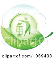 3d Person Throwing Garbage Away On A Green Leaf