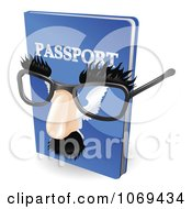 Clipart 3d False Nose And Glasses On A Passport Royalty Free Vector Illustration