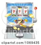 Clipart 3d Slot Machine Laptop Royalty Free Vector Illustration by AtStockIllustration
