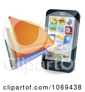 Clipart 3d Books Shooting Out Of A Smart Phone Royalty Free Vector Illustration