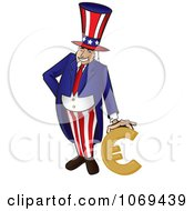 Clipart Uncle Sam Leaning On A Euro Royalty Free Vector Illustration