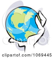 Clipart Hand Holding The World Royalty Free Vector Illustration by Johnny Sajem