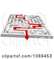 Poster, Art Print Of 3d Maze With Red Arrow Paths 3