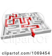 Poster, Art Print Of 3d Maze With Red Arrow Paths 1