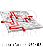Poster, Art Print Of 3d Maze With Red Arrow Paths 2