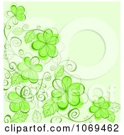 Clipart Background Of Green Flowers On A Vine Royalty Free Vector Illustration