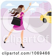 Clipart Brunette Woman Hailing A Cab Royalty Free Vector Illustration by Monica