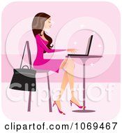 Clipart Brunette Woman Using A Laptop At A Cafe Royalty Free Vector Illustration