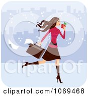 Clipart Brunette Woman Eating On Her Way To Work Royalty Free Vector Illustration