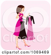 Clipart Brunette Woman Choosing A Dress Royalty Free Vector Illustration