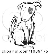 Clipart Woodcut Dog Sitting Royalty Free Vector Illustration by xunantunich
