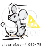 Clipart Woodcut Mouse With Cheese Royalty Free Vector Illustration by xunantunich