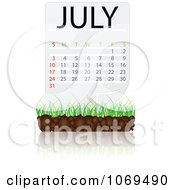 Clipart July Calendar Over Soil And Grass Royalty Free Vector Illustration