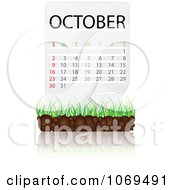 Clipart October Calendar Over Soil And Grass Royalty Free Vector Illustration