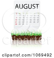 Clipart August Calendar Over Soil And Grass Royalty Free Vector Illustration
