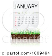 Clipart January Calendar Over Soil And Grass Royalty Free Vector Illustration