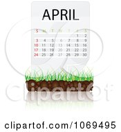 Clipart April Calendar Over Soil And Grass Royalty Free Vector Illustration