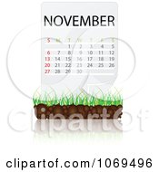 Clipart November Calendar Over Soil And Grass Royalty Free Vector Illustration