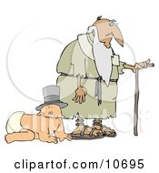 Baby Wearing A Hat And Crawling Alongside An Old Man With A Cane Clipart Illustration