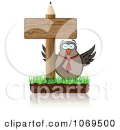 Clipart Owl And Pencil Sign Royalty Free Vector Illustration by Andrei Marincas