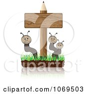 Clipart Worms And Pencil Sign Royalty Free Vector Illustration