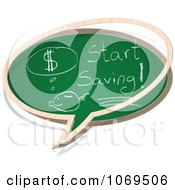 Clipart Start Saving Chalkboard Word Balloon Royalty Free Vector Illustration