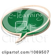 Clipart E Learning Chalkboard Word Balloon Royalty Free Vector Illustration