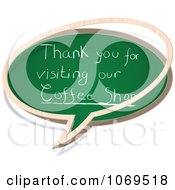 Clipart Thank You For Visiting Our Coffee Shop Chalkboard Word Balloon Royalty Free Vector Illustration by Andrei Marincas