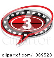 Clipart 3 Filmstrip Movie Word Balloon Royalty Free Vector Illustration