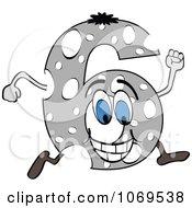 Clipart Running Gray Number 6 Royalty Free Vector Illustration