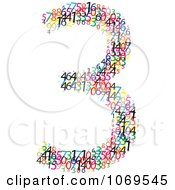 Clipart Colorful Digits Making Number 3 Royalty Free Vector Illustration