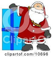 Santa Resting His Arm On A Giant Blue Christmas Present Clipart Illustration by djart