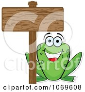 Frog And A Wood Sign