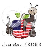 Clipart American Apple And Worm Royalty Free Vector Illustration