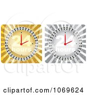 Clipart Gold And Silver 24 Hours Clocks Royalty Free Vector Illustration