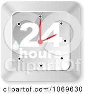 Clipart Wet Silver 24 Hours Clock Royalty Free Vector Illustration