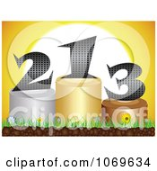 Clipart 3d Numbers On Podiums Against A Sunset Royalty Free Vector Illustration