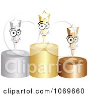 Clipart 3d Stars On Podiums Royalty Free Vector Illustration