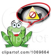 Clipart Frog Announcing A Restriction Royalty Free Vector Illustration by Andrei Marincas