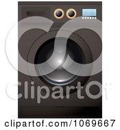 Clipart 3d Front Loader Black Washing Machine Or Dryer Royalty Free Vector Illustration